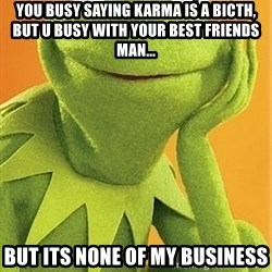 Kermit the frog - You busy saying Karma is a bicth, but u busy with your best friends man... but its none of my business