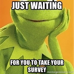 Kermit the frog - Just waiting  for you to take your survey