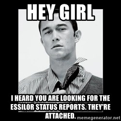 Hey Girl (Joseph Gordon-Levitt) - HEY GIRL I heard you are looking for the Essilor status reports. They're attached.