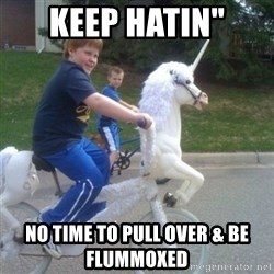 "unicorn - KEEP HATIN""  No time to pull over & be flummoxed"