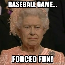 Unimpressed Queen Elizabeth  - Baseball Game... Forced Fun!