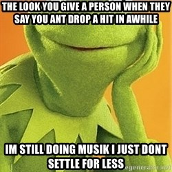 Kermit the frog - THE LOOK YOU GIVE A PERSON WHEN THEY SAY YOU ANT DROP A HIT IN AWHILE IM STILL DOING MUSIK I JUST DONT SETTLE FOR LESS
