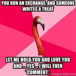 Fanfic Flamingo - You run an exchange, and someone writes a treat LET ME HOLD YOU AND LOVE YOU AND ... yes ... I will even *comment*.