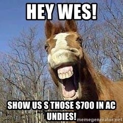 Horse - Hey wes! show us s those $700 in AC undies!