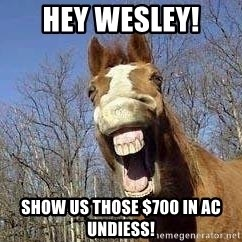 Horse - Hey wesley! show us those $700 in AC undiess!