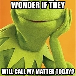 Kermit the frog - wonder if they will call my matter today?