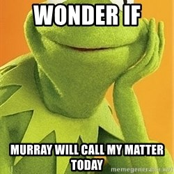 Kermit the frog - wonder if  Murray will call my matter today