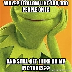 Kermit the frog - Why?? i Follow like 1,00,000 people on ig And Still Get 1 Like On My Pictures??