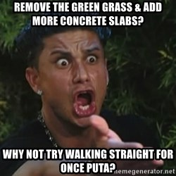 Angry Guido  - remove the green grass & add more concrete slabs? why not try walking straight for once puta?