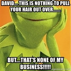 Kermit the frog - David.... This is nothing to pull your hair out over........ But....that's none of my business!!!!!