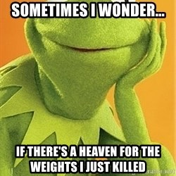 Kermit the frog - Sometimes I wonder...  If there's a heaven for the weights I just killed