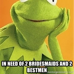 Kermit the frog -  in need of 2 bridesmaids and 2 bestmen