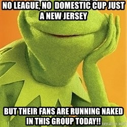Kermit the frog - NO LEAGUE, NO  DOMESTIC CUP JUST A NEW JERSEY BUT THEIR FANS ARE RUNNING NAKED IN THIS GROUP TODAY!!
