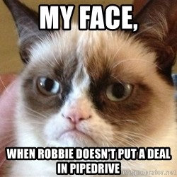 Angry Cat Meme - My face, When Robbie doesn't put a deal in Pipedrive