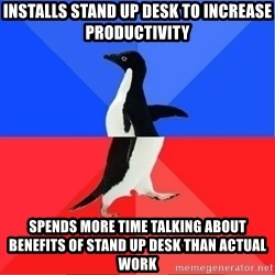 Socially Awkward to Awesome Penguin - installs stand up desk to increase productivity spends more time talking about benefits of stand up desk than actual work
