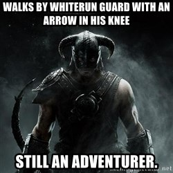 Scumbag Dovahkiin - Walks by Whiterun guard with an arrow in his knee still an adventurer.