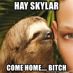 Whispering sloth - hay skylar come home.... bitch