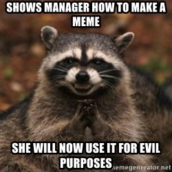 evil raccoon - shows manager how to make a meme she will now use it for evil purposes