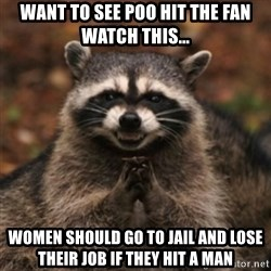 evil raccoon - want to see poo hit the fan watch this... women should go to jail and lose their job if they hit a man