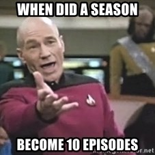 Captain Picard - when did a season become 10 episodes