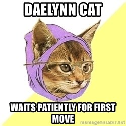 Hipster Cat - daelynn cat waits patiently for first move