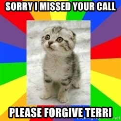 Cute Kitten - Sorry i missed your call Please forgive terri