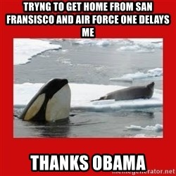 Thanks Obama! - Tryng to get home from San Fransisco and AIR FORCE ONE delays me Thanks Obama