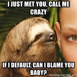 Whispering sloth - I JUST MET YOU, CALL ME CRAZY IF I DEFAULT, CAN I BLAME YOU BABY?