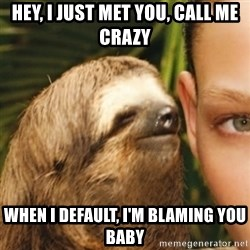 Whispering sloth - HEY, I JUST MET YOU, CALL ME CRAZY WHEN I DEFAULT, I'M BLAMING YOU BABY