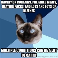 Chronic Illness Cat - Backpack contains: prepared meals, heating packs, and lots and lots of Kleenex Multiple conditions can be a lot to carry