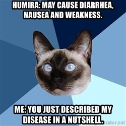 Chronic Illness Cat - Humira: May cause Diarrhea, nausea and weakness. Me: You just described my disease in a nutshell.