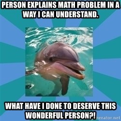 Dyscalculic Dolphin - Person explains math problem in a way I can understand. WHAT HAVE I DONE TO DESERVE THIS WONDERFUL PERSON?!