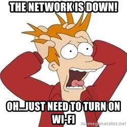 Fry Panic - THE NETWORK IS DOWN! Oh...Just need to turn on Wi-Fi