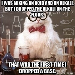Chemist cat - I was mixing an acid and an alkali, but I dropped the alkali on the floor. That was the first time I dropped a base.