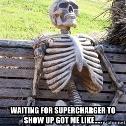 Waiting skeleton meme -  waiting for supercharger to show up got me like.....