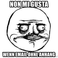 Me Gusta face - non mi gusta wenn email ohne anhang