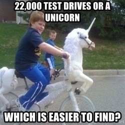 unicorn - 22,000 test drives or a unicorn which is easier to find?