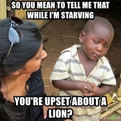 Skeptical 3rd World Kid - So you mean to tell me that while I'm starving You're upset about a lion?