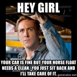 Confused Ryan Gosling - Hey Girl Your car is fine but your horse float needs a clean.  You just sit back and I'll take care of it.