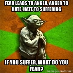 Yoda Advice  - Fear leads to anger, anger to hate, hate to suffering If you suffer, what do you fear?