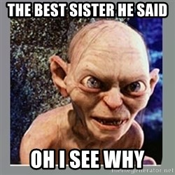 Smeagol - the best sister he said oh i see why