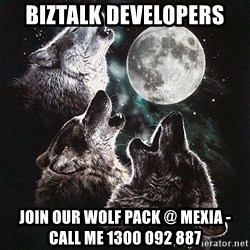 Lone Wolf Pack - BizTalk Developers Join our wolf pack @ Mexia - call me 1300 092 887