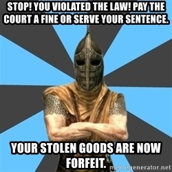 Unfortunate Guard - Stop! You violated the law! Pay the court a fine or serve your sentence. Your stolen goods are now forfeit.