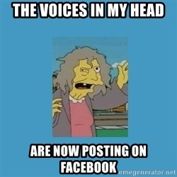 crazy cat lady simpsons - the voices in my head are now posting on facebook
