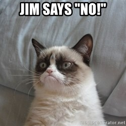 "Grumpy cat good - Jim Says ""NO!"""