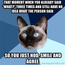 "Chronic Illness Cat - That moment when you already said ""what?"" three times and still have no idea what the person said  so you just nod, smile and agree"
