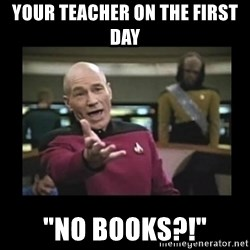 "Patrick Stewart 101 - your teacher on the first day ""no books?!"""