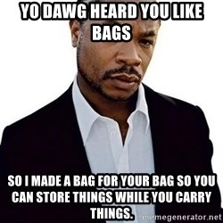 Xzibit - Yo Dawg Heard you like Bags so I made a bag for your bag so you can store things while you carry things.