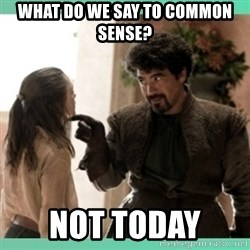 What do we say - What do we say to common sense? Not today