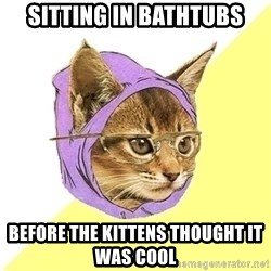 Hipster Cat - sitting in bathtubs before the kittens thought it was cool